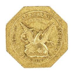 "1851 50 Humbert ""887"" Reeded Augustus Gold Slug Coin"