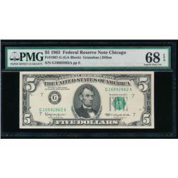 1963 $5 Chicago FRN PMG 68EPQ