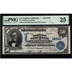 1902 $50 Los Angeles CA National Bank Note PMG 25