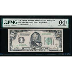 1934A $50 New York FRN PMG 64EPQ