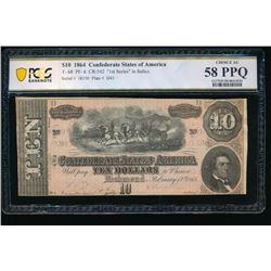 1864 $10 T-68 Confederate PCGS 58PPQ
