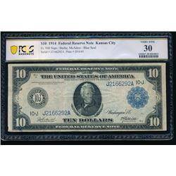 1914 $10 Kansas City FRN PCGS 30
