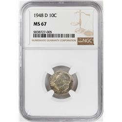 1948-D Roosevelt Dime Coin NGC MS67