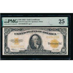 1922 $10 Gold Certificate PMG 25