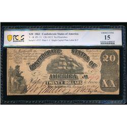 1861 $20 T-18 Confederate PCGS 15