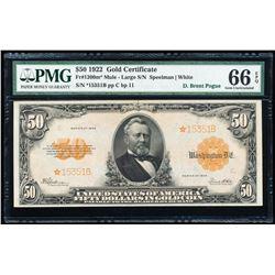 1922 $50 STAR Gold Certificate PMG 66EPQ