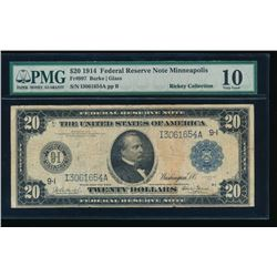 1914 $20 Minneapolis Federal Reserve Note PMG 10