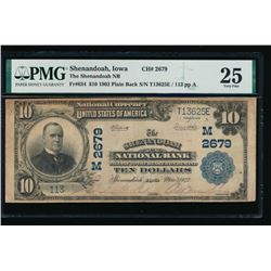 1902 $10 Shenandoah National Bank Note PMG 25