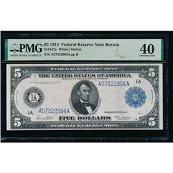 1914 $5 Boston FRN PMG 40