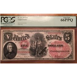 1878 $5 Legal Tender Note PCGS 66PPQ