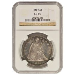 1840 $1 Seated Liberty Dollar NGC AU53
