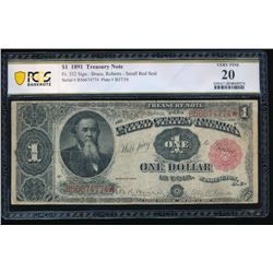 1891 $1 Treasury Note PCGS 20