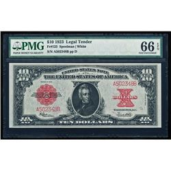 1923 $10 Poker Chip Legal Tender Note PMG 66EPQ