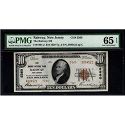 1929 $10 Rahway NJ National Bank Note PMG 65EPQ
