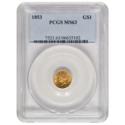 1853 $1 Gold Coin PCGS MS63