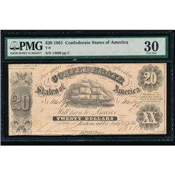 1861 $20 Confederate States of America Note PMG 30