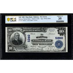 1902 $10 Rahway NJ National Bank Note PCGS 35
