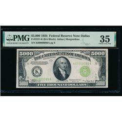 1934 $5000 Dallas FRN PMG 35