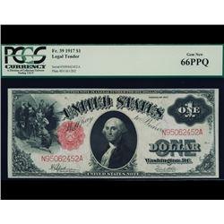 1917 $1 Legal Tender Note PCGS 66PPQ