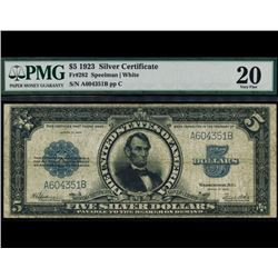 1923 $5 Lincoln Porthole Silver Certificate PMG 20