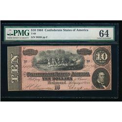 1864 $10 T-68 Confederate PMG 64