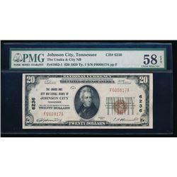 1929 $20 Johnson City National Bank Note PMG 58EPQ