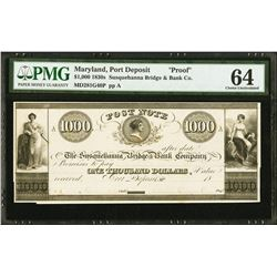1830's $1000 Post Deposit MD Susquehanna Bridge and Bank Note PMG 64
