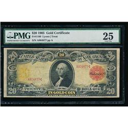 1905 $20 Technicolor Gold Certificate PMG 25
