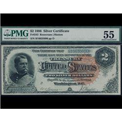1886 $2 Silver Certificate PMG