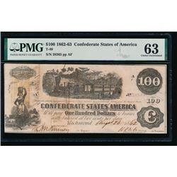 1862-63 $100 T-40 Confederate PMG 63