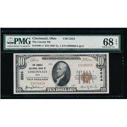 1929 $10 Cincinnati National Bank Note PMG 68EPQ