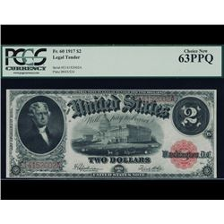1917 $2 Legal Tender Note PCGS 63PPQ
