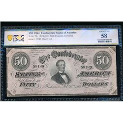 1864 $50 T-66 Confederate PCGS 58