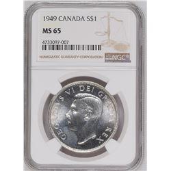 1949 $1 Canada Silver Dollar NGC MS65