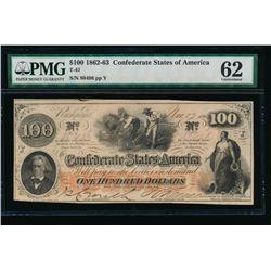 1862-63 $100 T-41 Confederate PMG 62