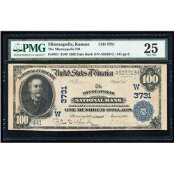1902 $100 Minneapolis KS National Bank PMG 25