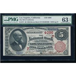 1882 $5 Los Angeles National Bank Note PMG 63EPQ