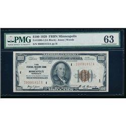 1929 $100 Minneapolis FRBN PMG 63