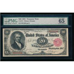 1891 $20 Treasury Note PMG 65
