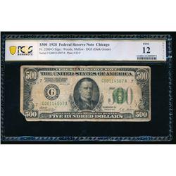 1928 $500 Chicago FRN PCGS 12