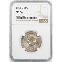 1951-D Washington Quarter Coin NGC MS66
