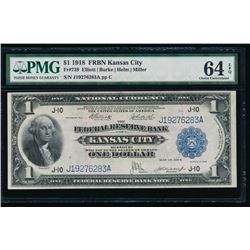 1918 $1 Kansas City FRBN PMG 64EPQ