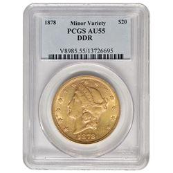 1878 $20 Double Die Reverse Gold Coin PCGS AU55