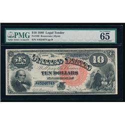 1880 $10 Jackass Legal Tender Note PMG 65