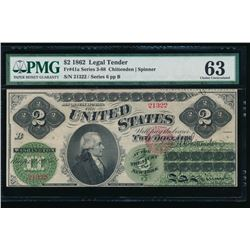 1862 $2 Legal Tender Note PMG 63