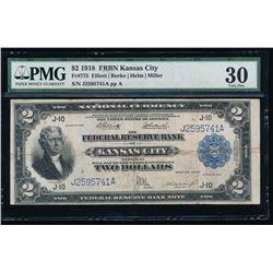 1918 $2 Kansas City FRBN PMG 30