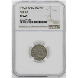 1784-A Germany Silesia 3 Krezuer Coin NGC MS65
