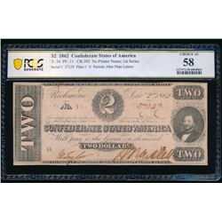 1862 $2 T-54 Confederate PCGS 58