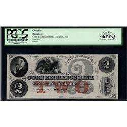 1800's $2 Corn Exchange Bank of Waupun WI PCGS 66PPQ