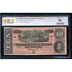 1864 $10 T-68 Confederate PCGS 58